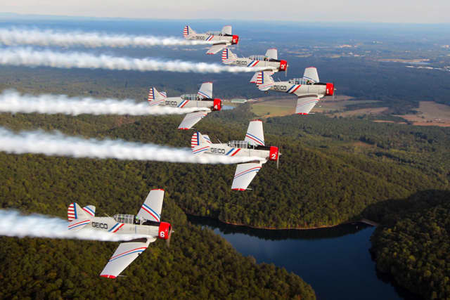 The GEICO Skytypers Air Show Team is a leading vintage air show performance squadron.