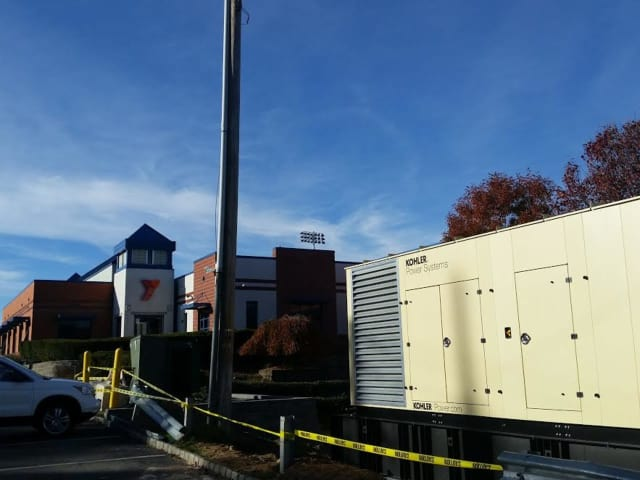 A generator is being installed at the Wyckoff Family YMCA.