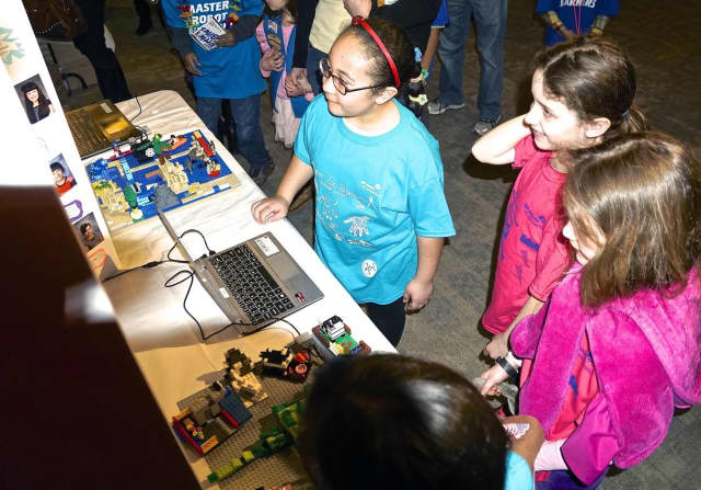 Girls take part in last year's Lego League competitions.