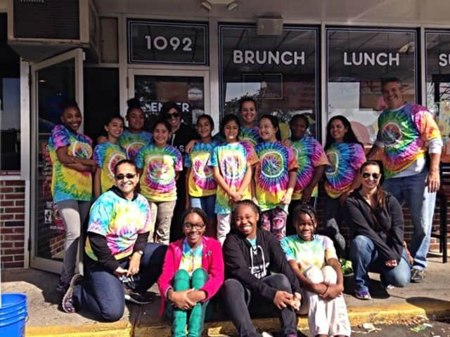 Girls Leadership cleaned graffiti in Stamford over the weekend.