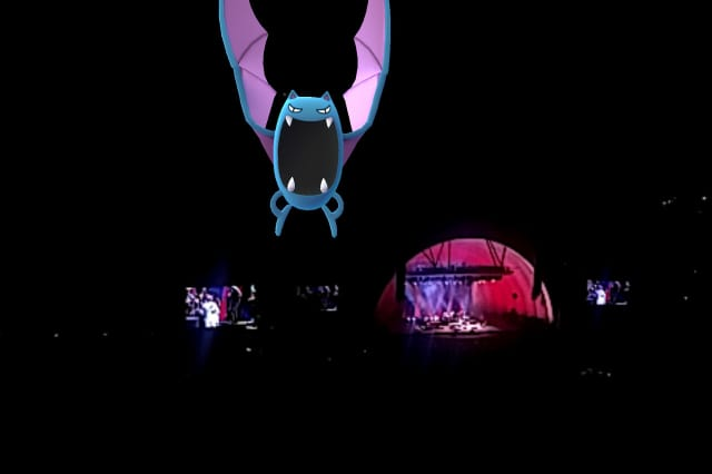A Golbat swoops in during a nighttime session of Pokémon Go.