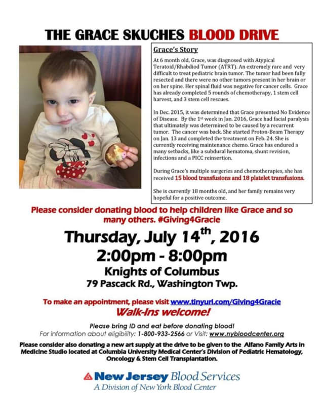 The Grace Skuches Blood Drive is July 14 in Washington Township.