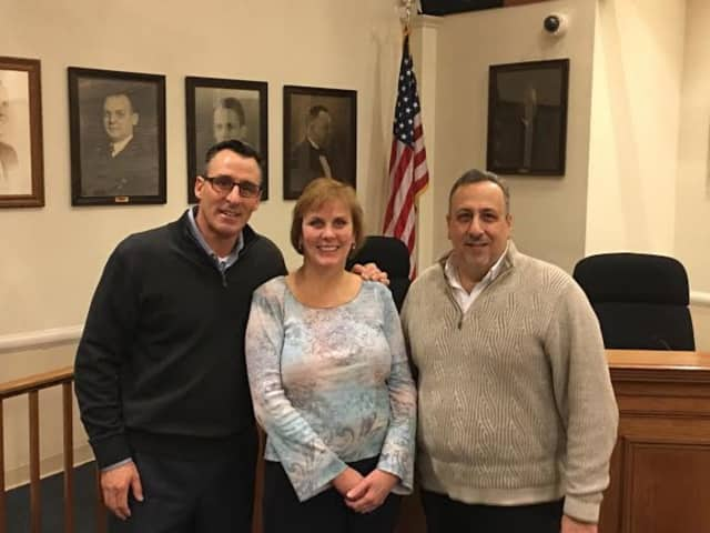 Partners in the Westwood for All Initiative Westwood from left are Mayor John Birkner Jr., Jeanne Martin, director of Pascack Valley Meals on Wheels and Councilman Christopher Montana.