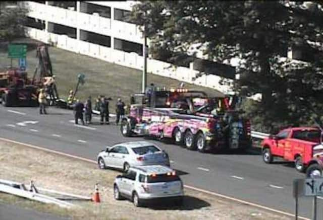 An overturned truck in Greenwich closed an exit ramp on I-95 southbound.