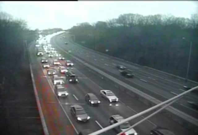 A crash on I-95 northbound in Greenwich. A new study ranks Connecticut highways among the worst in the nation.