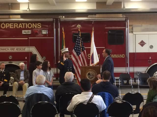Chris Pratico is sworn in as fire marshal at a ceremony on Tuesday