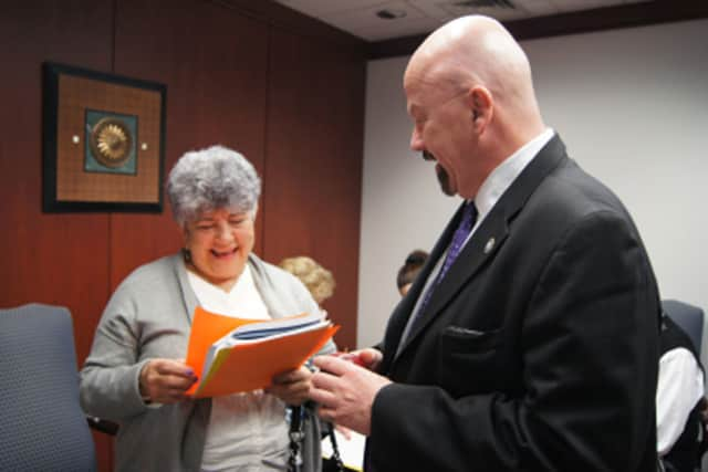Stratford State Rep. Joe Gresko met with retired Stratford teacher Lynnette Baroni recently at the State Capitol.