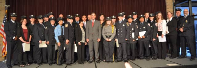 Dutchess County Executive Marc Molinaro and NYS Senator Sue Serino joined graduates of the Firefighter I training program at a ceremony held last night at Dutchess Community College in the Town of Poughkeepsie.
