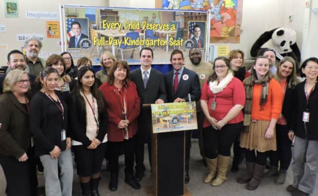 State Sen. David Carlucci (center left) and State Sen. Jeff Klein (center right) with supporters of full-day kindergarten.