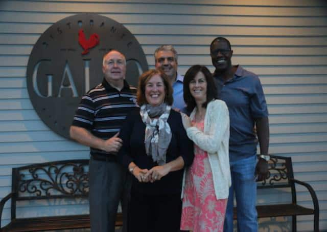 Former Boys & Girls Club Director Terry Hughes, and Ridgefield A Better Chance (RABC) Board members Kelby Edwards, Sue Ferguson and Jeanne Manto (pictured with owner Raffaele Gallo) will take turns behind the bar Thursday at Gallo Ristorante.