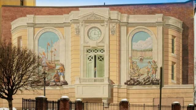 The middle part of a landmarked mural painted by artist Richard Haas was torn down last week.