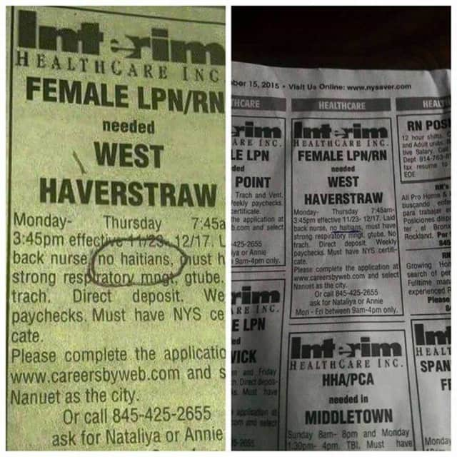The NAACP has filed a complaint against the companies involved in publication of this Pennysaver ad that discriminates against Haitians.