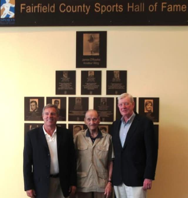 New Canaan's Lou Marinelli, left, Darien's Bill Steinkraus, center, and Stamford's Mike Walsh were among seven inductees announced Wednesday for the Fairfield County Sports Hall of Fame.