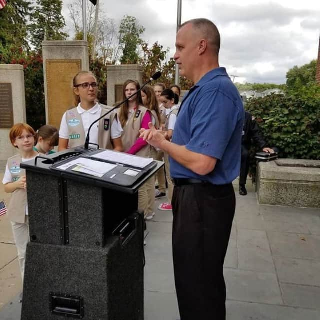 Daniel Hayes receives the Warrior Award at the Walk of Honor in Danbury on Sunday.