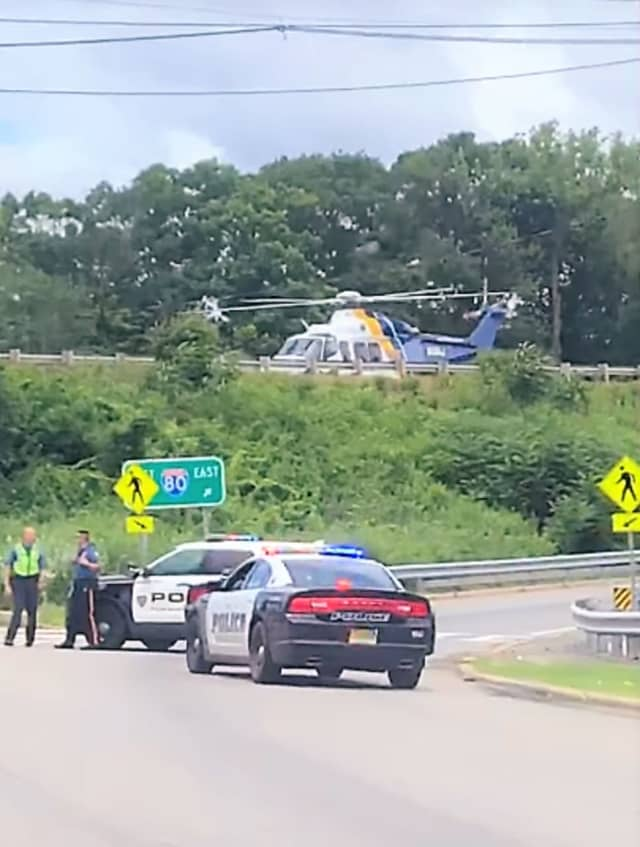 Two medical choppers were called to the scene of the eastbound Route 80 crash in Mount Arlington.