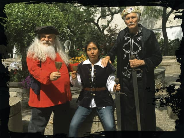 """Charlie Leeder as Falstaff, Elizabeth Berkman as Prince Hal and Tom Cox as King Henry IV appear in """"Henry IV, Parts 1&2"""" at the Stratford Library on Aug. 27 at 2 p.m."""