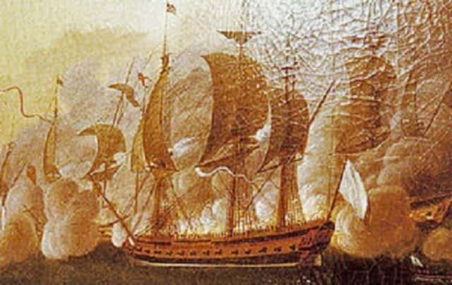 Marquis de Lafayette's french frigate, the Hermione, is depicted in an oil painting by Auguste-Louis de Rossel de Cercy.