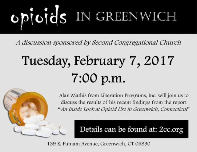 Alan Mathis of Liberation Programs will  speak on the subject of opioid use in Greenwich on Tuesday, Feb. 7, at Second Congregational Church in Greenwich.