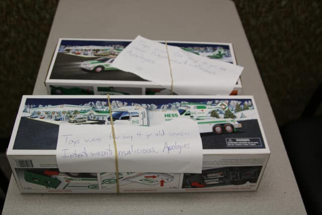 Hess truck boxes with handwritten apology notes found at the Wayne Police Department.