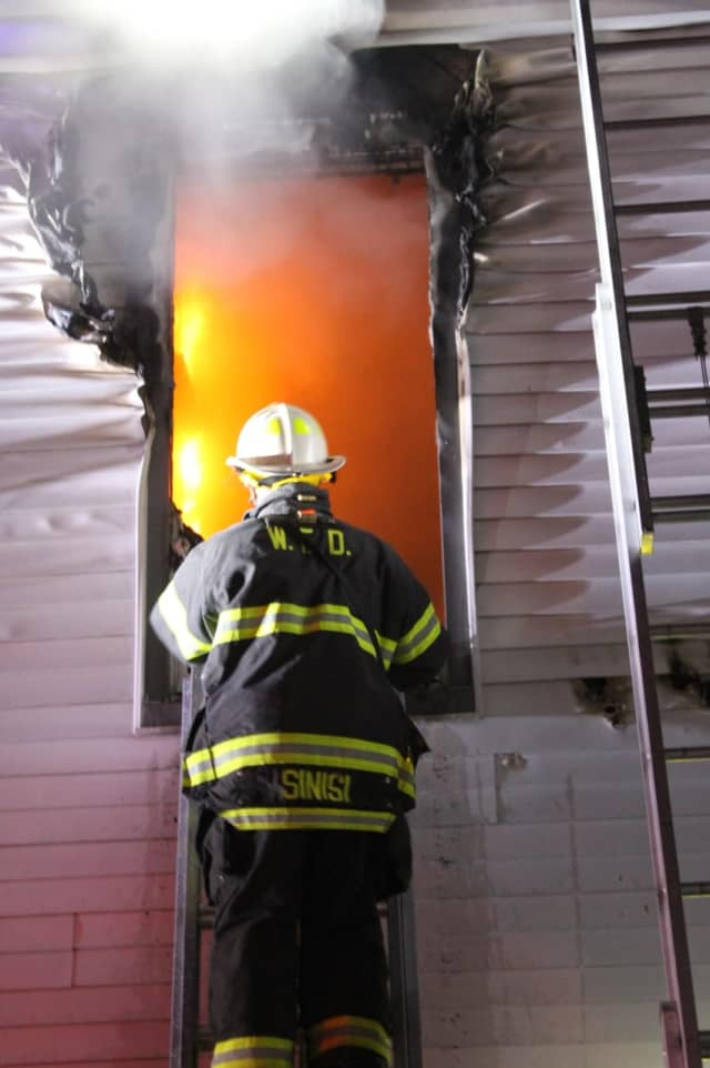The fire broke out on the second floor of the Henry Street home in Hasbrouck Heights.