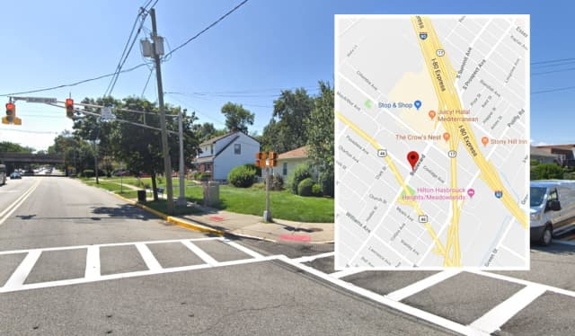 The 'Vette hopped the curb and slammed into a pedestrian crossing signal at Boulevard and Baldwin Avenue, police said.