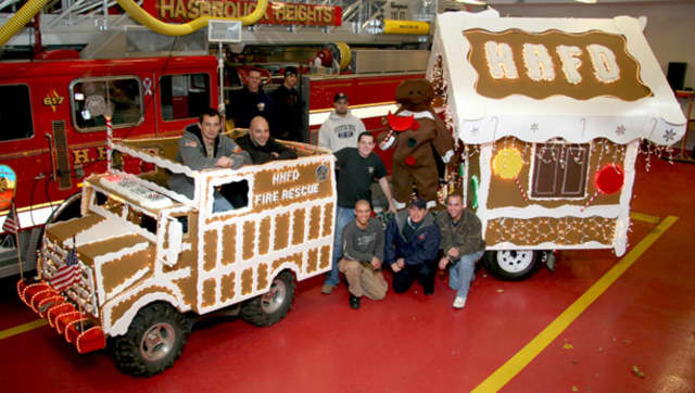 Hasbrouck Heights Fire Department and their holiday float.