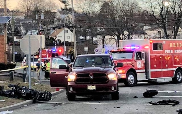 The crash occurred shortly after 3 p.m. on Route 17 at Franklin Avenue in Hasbrouck Heights. The garbage truck is out of the frame.
