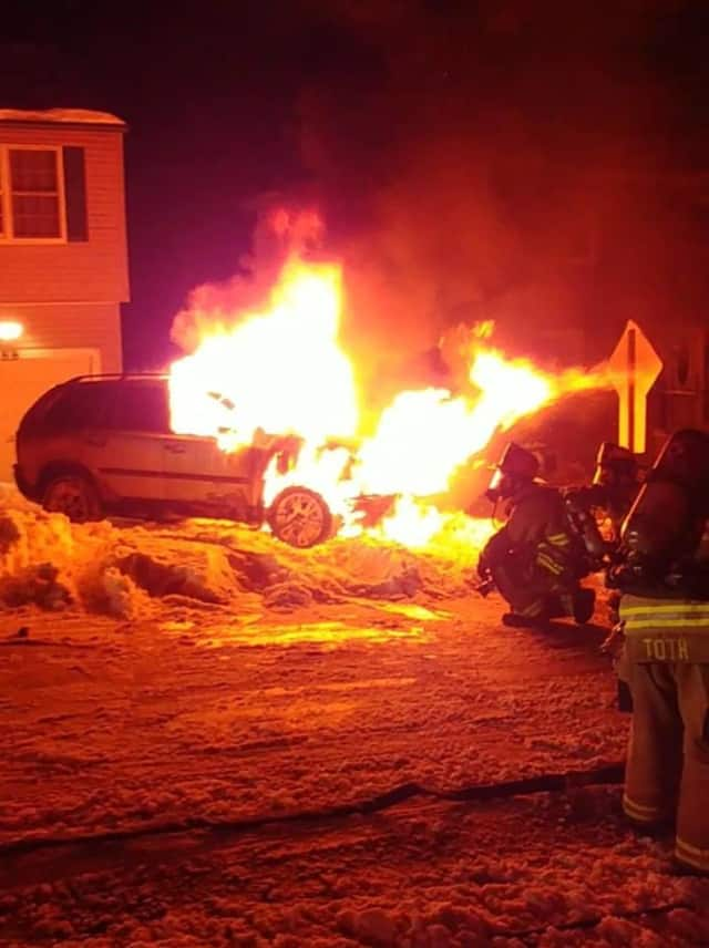 The Echo Hose Hook & Ladder Co. 1 put out a huge car fire on Hillside Avenue early Friday morning