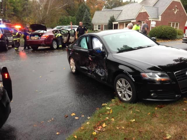 Nobody was injured in a car accident at Hillside Road and Hill Farm Road