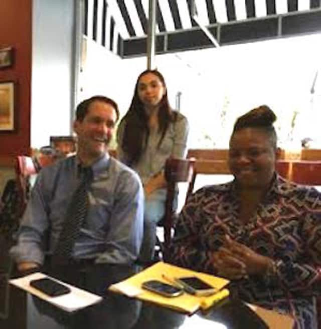 U.S. Rep. Jim Himes meets with voters at the Funchal Cafe in Bridgeport.