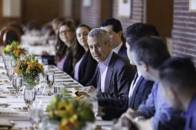 Danny Meyer chatting with a select group of 20 top CIA students over lunch at The Culinary Institute of America.