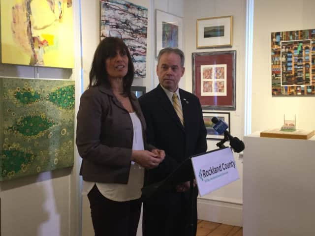Lucy Lucy Redzeposki, Rockland's director of Economic Growth and Tourism, and County Executive Ed Day at the Edward Hopper House.