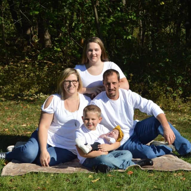 Kevin Hostetter with his wife Jody and their three children in October, 2019.
