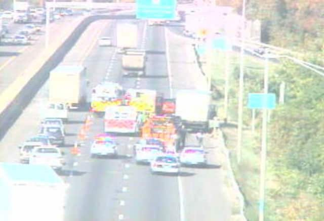 Two lanes of southbound I-95 in Bridgeport are blocked Tuesday morning by a multi-car crash.