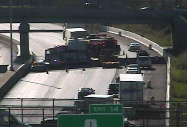 A tractor-trailer accident is blocking most of southbound I-95 in Norwalk on Wednesday afternoon.