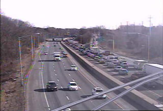I-95 northbound is jammed between Exits 18 and 19 in Westport after a crash involving a tractor-trailer.