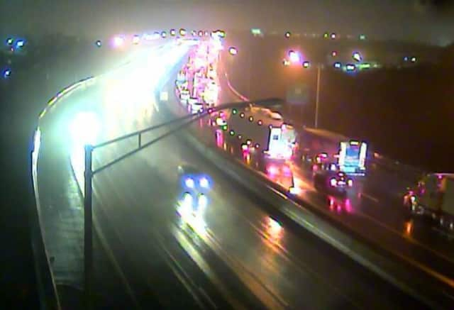 A tractor-trailer crash on I-95 South between Exit 29 for Stratford Ave and Exit 27a for Routes 8 and 25 is backing up traffic to Exit 30 for Lordship Boulevard/Route 113 on Monday morning.