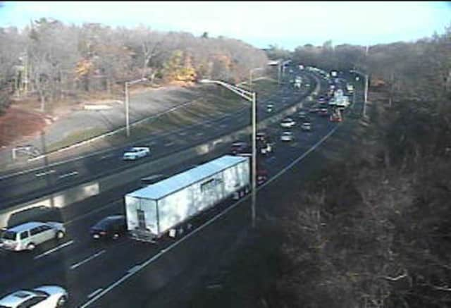 Traffic is moving but congested on I-95 in Westport on Wednesday afternoon.