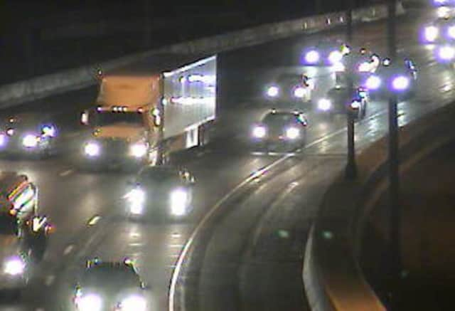 Traffic is slow-going on I-95 in Bridgeport on New Year's Eve due to a crash.