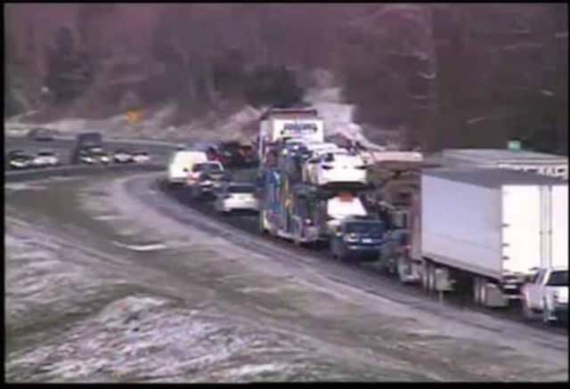 A crash between Exits 10 and 9 on westbound I-84 is causing a traffic jam on Tuesday.