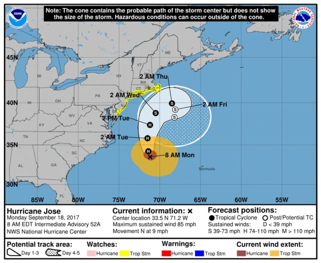 The track of Hurricane Jose, which is expected to pass the area this week, bringing the potential for tropical storm force rain, wind and flooding