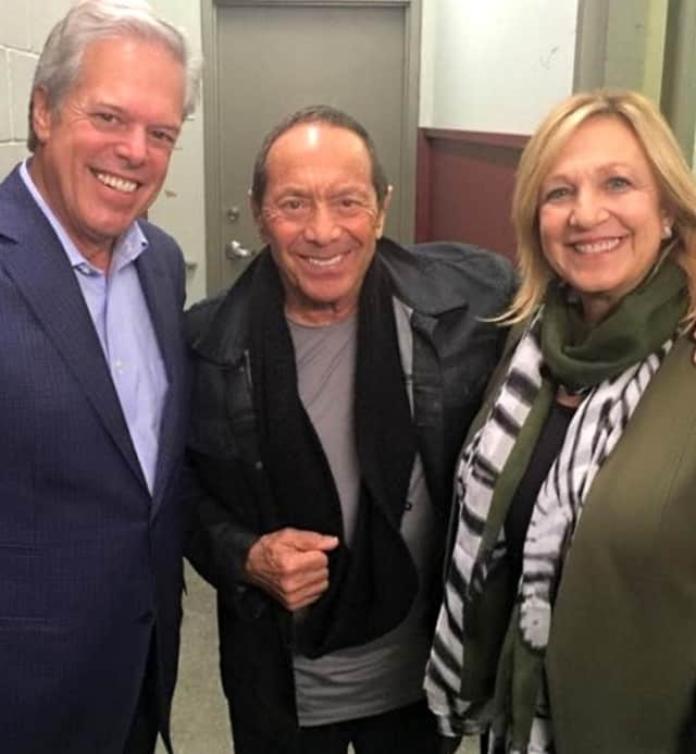 Englewood Mayor Frank Huttle III with singer Paul Anka and wife, NJ Assemblywoman Valerie Vainieri Huttle, after Nov. 6 show at bergenPAC.
