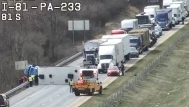 Tractor-trailer crash on I-81 Northbound by exit 29.