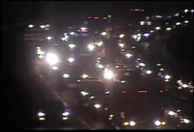 A pedestrian was hit by a car on I-84 east Thursday evening, causing heavy congestion.