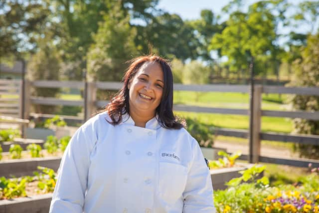 Neena Perez, manager of the Commons at Grace Farms Foundation in New Canaan led a team of culinary staff in preparing 500 meals for people served by agencies in Fairfield County.