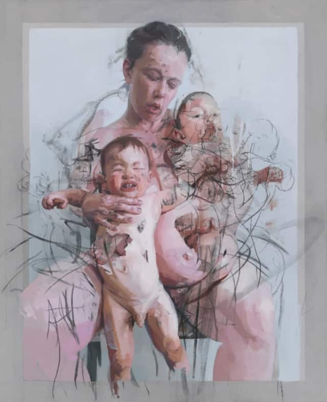 "Jenny Saville's 2011 painting ""The Mothers"" will be featured in a new exhibition at the Bruce Museum."