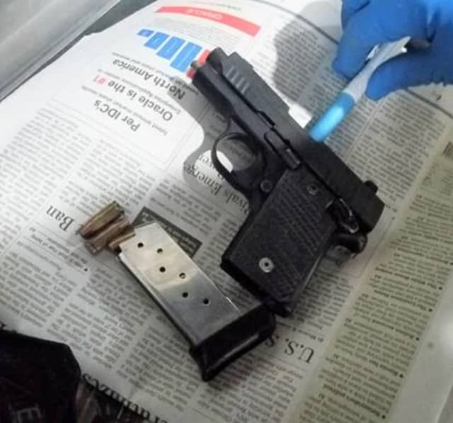 A Florida man tried to board a plane at Newark with this loaded handgun, authorities said.