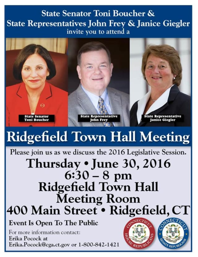 Join state and local legislators at Ridgefield Town Hall meeting.