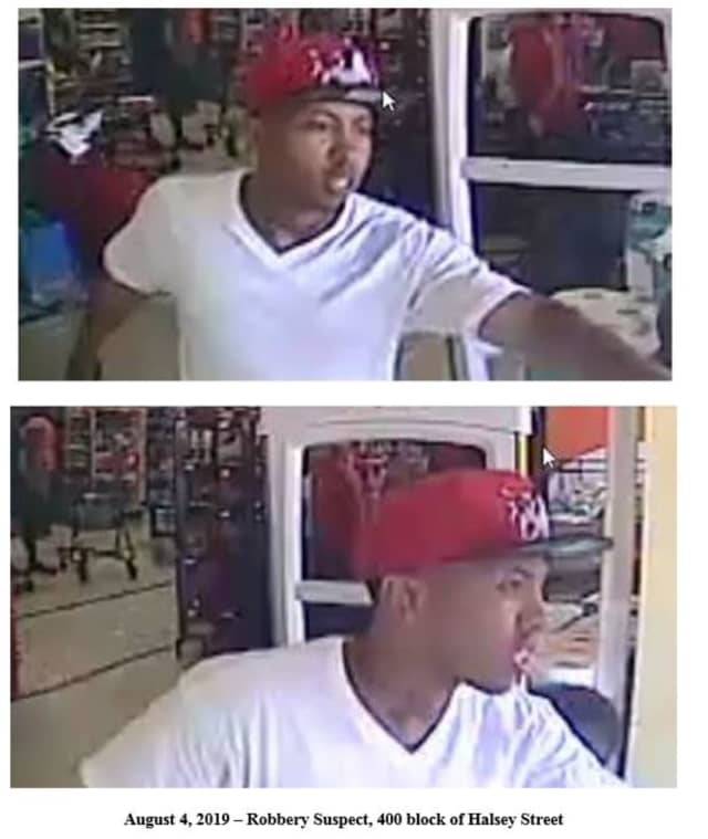 Police in Newark say this man is a suspect in an armed robbery earlier this month