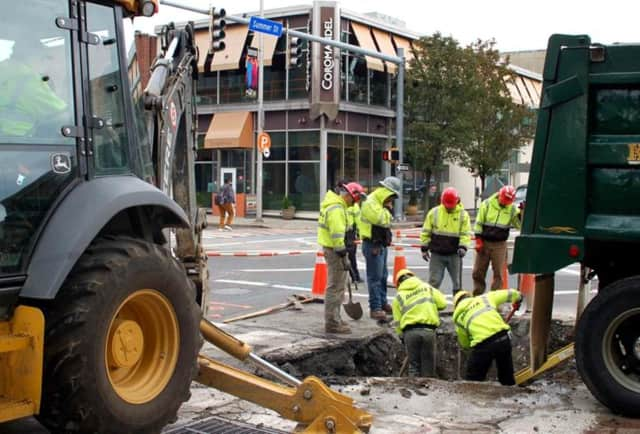 Eversource is working on a project in downtown Stamford to upgrade its natural gas lines. Work is being done along Summer, Bank, Main, Broad and Clark streets.
